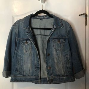 American Eagle Outfitters Jackets & Coats - AE Cropped Denim Jean Button Up Blue Jacket XL